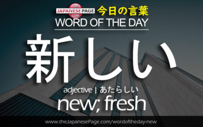 Beginner Word of the Day – 新しい [new; fresh]
